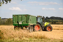 Claas 640 Arion at Gathering the Harvest, Navenby Fens, Lincolnshire, August 2018. Photo: Neil Houltby