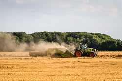 Claas Arion & Claas Quadrant 2100 Bailer at Gathering the Harvest, Navenby Fens, Lincolnshire, August 2018. Photo: Neil Houltby