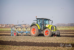Claas 630 Arion at Newborough Plouging Match, Newborough, Cambridgeshire, February 2019. Photo: Neil Houltby
