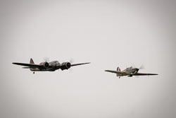 Bristol Blenheim and Hawker Hurricane at Battle of Britain, Duxford Air Show, Imperial War Museum Duxford, Cambridgeshire, September 2018. Photo: Neil Houltby