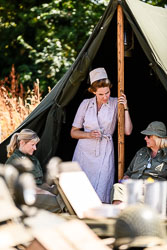 US Army Nurses at WWII Reenactment, Baston in the Blitz, Baston, Lincolnshire, August 2018. Photo: Neil Houltby