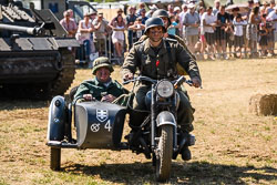 German Army Sidecar at WWII Battle Reenactment, Baston in the Blitz, Baston, Lincolnshire, August 2018. Photo: Neil Houltby