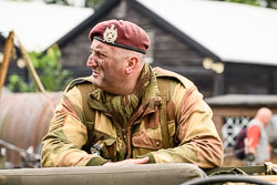 British Paratrooper at WWII Reenactment, Ramsey 1940's Weekend, Ramsey, Cambridgeshire, August 2018. Photo: Neil Houltby