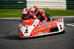 Greg Noble and Rob Szajnert at International Sidecar Revival, Cadwell Park, Lincolnshire, June 2018. Photo: Neil Houltby