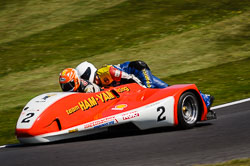 Steve Abbott and Scott Whiteside at International Sidecar Revival, Cadwell Park, Lincolnshire, June 2018. Photo: Neil Houltby