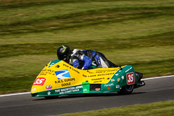 Brian Alflatt and Aaron Gorman at International Sidecar Revival, Cadwell Park, Lincolnshire, June 2018. Photo: Neil Houltby