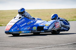 Peter Founds and Jevan Walsmsley at Wirral 100, Anglesey Circuit, Anglesey, July 2018. Photo: Neil Houltby