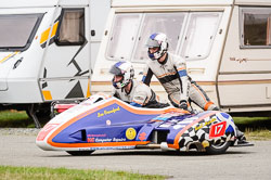 Lee Crawford and Scott Hardie at Wirral 100, Anglesey Circuit, Anglesey, July 2018. Photo: Neil Houltby
